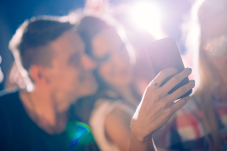 dance club: Party people taking selfie  Stock Photo