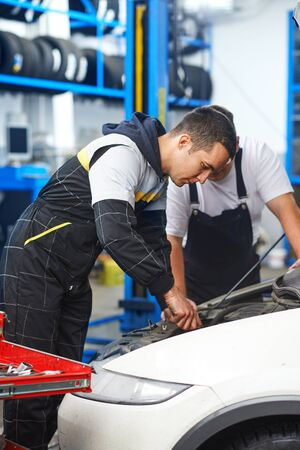 Mechanics at car service