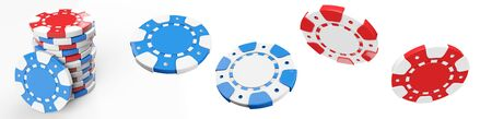 Red And Blue Casino Chips Set Isolated On The White Background - 3D Illustration