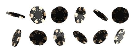 Modern Black And Gold Casino Chips, Isolated On The White Background - 3D Illustration