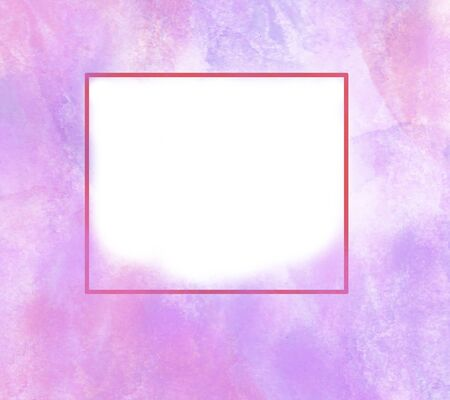 Abstract illustration with purple flowers and a square in the middle on white paper Stock Illustration - 129403776
