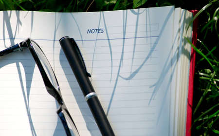pen and glasses on organiser in nature photo
