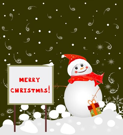 Banner Merry Christmas and a snowman vector editable and scalable vector illustration EPS10 illustration Иллюстрация