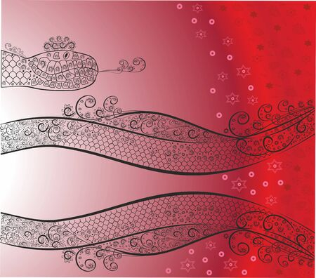 Christmas background with a snake.Editable and scalable vector Ilustrace