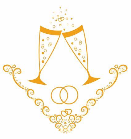 Beautiful vector illustration.Wedding day celebration with champagne. Illustration