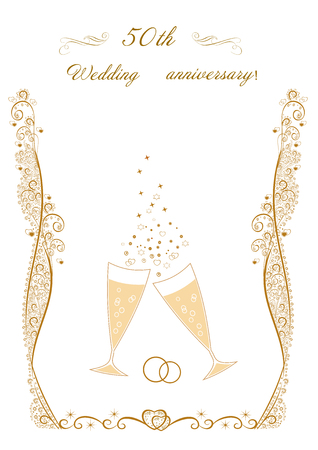 50e anniversaire de mariage Invitation. Belle illustration vectorielle modifiable Banque d'images - 91441288