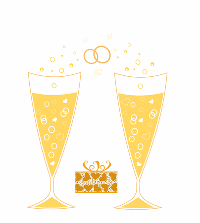 Festive golden wedding champagne glasses.Editable and scalable vector