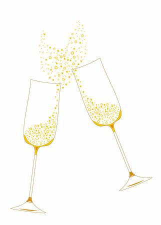 장식 요소와 황금 축제 샴페인 안경