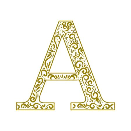 Decorative letter A with beautiful elements for decorating letters. Zdjęcie Seryjne