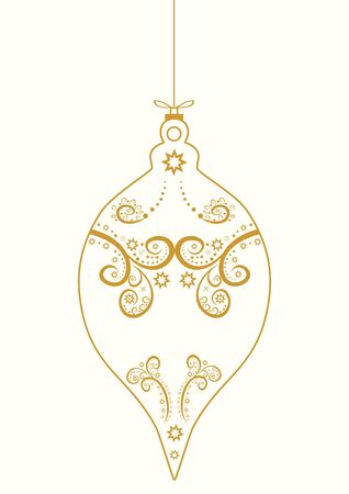 Festive  greeting  Merry Christmas  ball gold ornaments  hand drawn line  abstract vector  illustration    Illustration