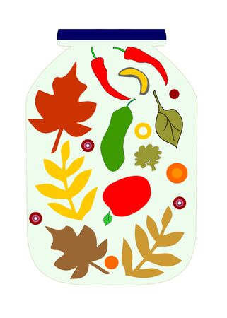 Autumn and vegetables in a glass jar   editable and scalable vector illustration    Çizim