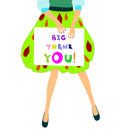 A girl holds a poster big thank you vector illustration  editable and scalable vector illustration EPS10