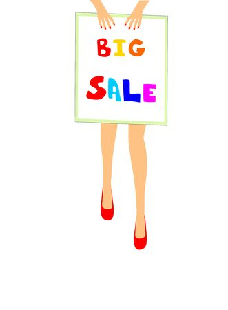 A girl holds a placard. Big sale editable and scalable vector illustration EPS10