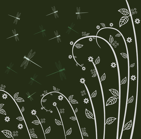 Abstract background with dragonflies editable and scalable vector illustration EPS10
