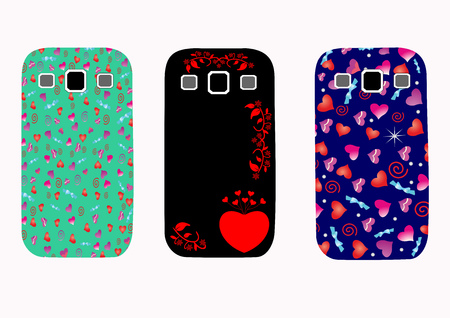 Beautiful original set of covers for phones with abstract hearts. A great gift for the friends and valentines. Love