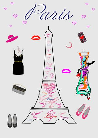 Fashion for women Shopping in Paris editable and scalable vector illustration EPS10