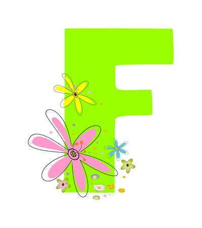 The letter Fwith a floral background editable and scalable vector illustration