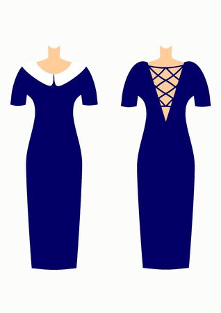 Fashion for woman two beautiful dresses vector illustration.Blue and white.Original design Ilustracja