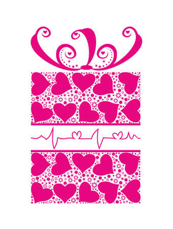 Abstract pink gift with hearts. Vector illustration