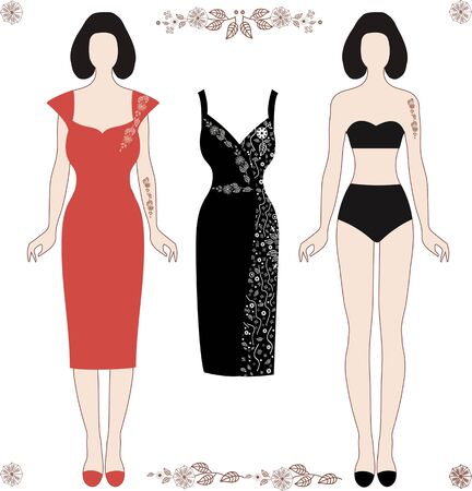 A collection of clothes for girls. Color red, black coral, white vector illustration
