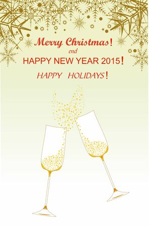 Christmas  and New Year greetings on red background for festive decoration