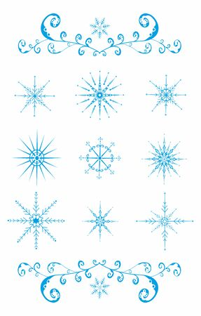Set of blue snowflakes on white. Vector illustration Zdjęcie Seryjne