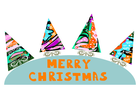 Original Christmas trees with abstract editable and scalable illustration.