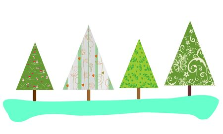 Christmas trees with abstract print