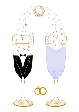 Festive wedding glasses with editable and scalable vector abstract