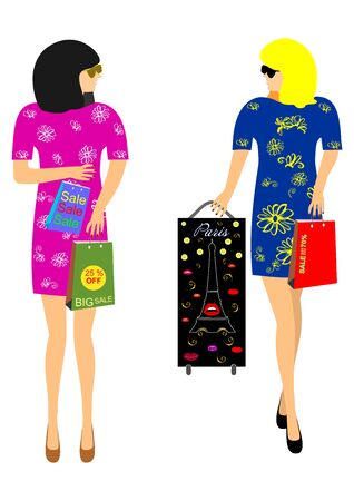 Beautiful girls and packages with discounts editable and scalable vector illustration EPS10 Zdjęcie Seryjne - 92528186