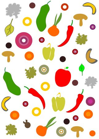 Abstract background with vegetables editable and scalable vector illustration EPS10