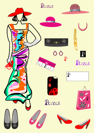 Fashion and accessories for girls easily editable and scalable vector illustration EPS10. Ilustracja