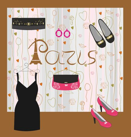 Fashion and accessories for girls Paris easily editable and scalable vector illustration EPS10.