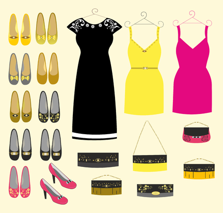 Fashion clothing for girls handbags and shoes easily editable and scalable vector illustration EPS10.