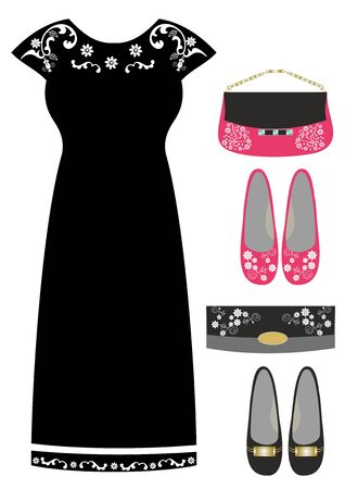 Fashionable clothing and accessories for girls editable and scalable vector illustration EPS10
