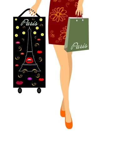 Girl with a suitcase and a bag. Vector illustration EPS10 Zdjęcie Seryjne - 92426167
