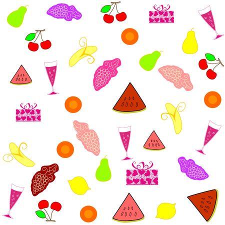 Seamless food fruit wine glass editable and scalable vector illustration EPS10 Ilustracja