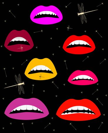 Set lips color easily editable and scalable illustration.