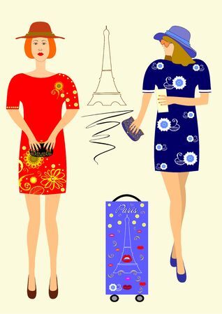 Stylish dresses for shopping and beauty shopping editable and scalable vector illustration EPS10 Zdjęcie Seryjne - 92310010