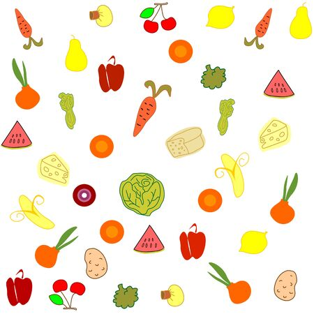 Seamless food fruits editable and scalable vector illustration Zdjęcie Seryjne - 92310016