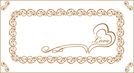 Gold frame for congratulation young lovers editable and scalable vector illustration Ilustracja
