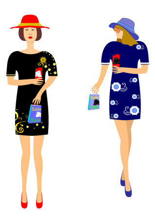 Girls holding packages with discounts editable and scalable vector illustration