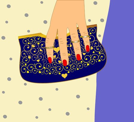 Female hand holding a purse easily editable and scalable illustration.