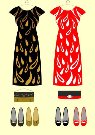 Fashion dress for girls handbags and shoes easily editable and scalable illustration.