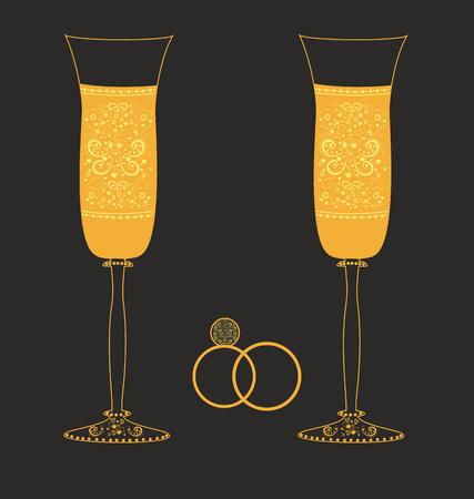 Golden wedding glasses with decorative pattern Ilustracja
