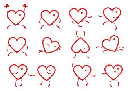 A set of contour hearts. Ilustracja