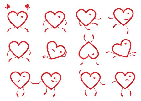 A set of contour hearts.Abstract vector illustration Zdjęcie Seryjne - 92729582