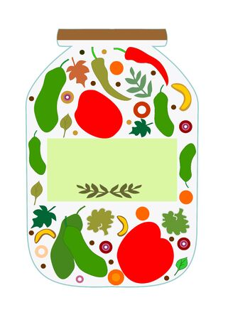 Vegetables for pickling in a glass jar to write a prescription Ilustracja