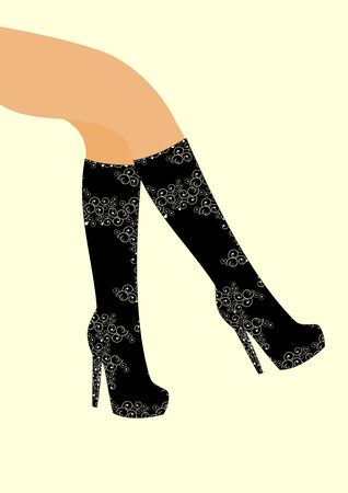 Part of the female leg sensor detects the knee boots with a with high heels Ilustracja