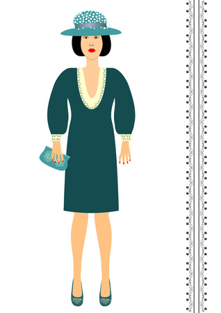 Fashion woman in the original clothing hat shoes and handbags Ilustracja